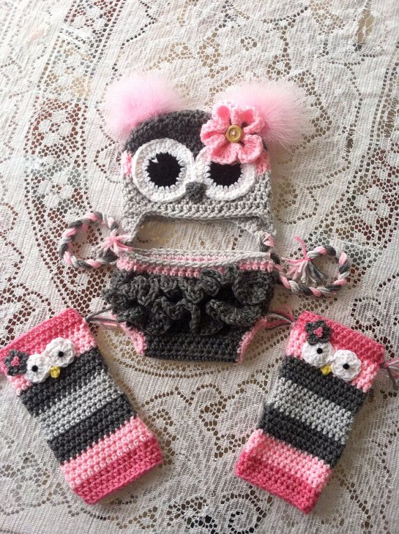 Size 6-12 month owl hat diaper cover and leg warmer by MarysMoxee