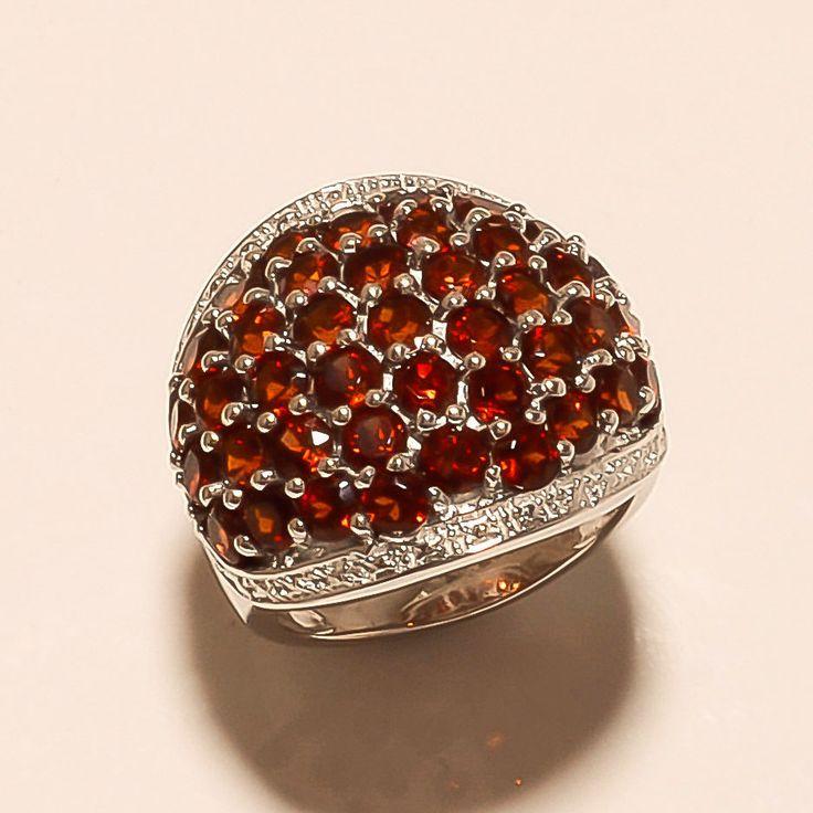 Mozambique Red Garnet Gemstone 925 Sterling Silver Ring Women Wedding Jewelry AA #Handmade #Baho #EidGift