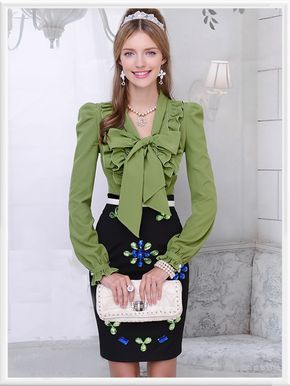 Morpheus Boutique  - Green Bow Floral Ruffle Long Sleeve Celebrity Shirt, $79.99 (http://www.morpheusboutique.com/green-bow-floral-ruffle-long-sleeve-celebrity-shirt/)