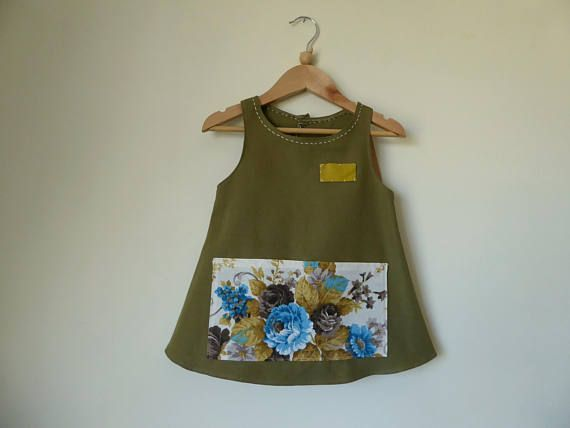 Cute Green Apron for Girls 5 for carefree play Size 5