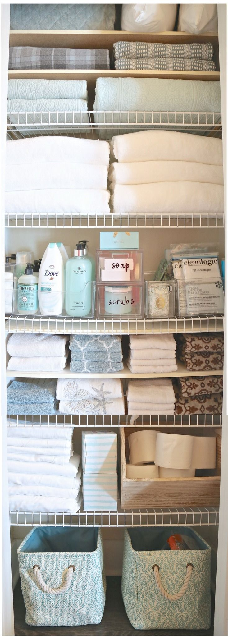 Creative ways to organize a linen closet or cabinet.