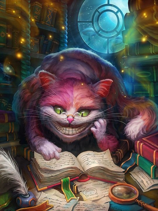 The Cheshire Cat reads Alice Through the Looking Glass.   Concept Art and Illustrations by Grafitart   Cruzine