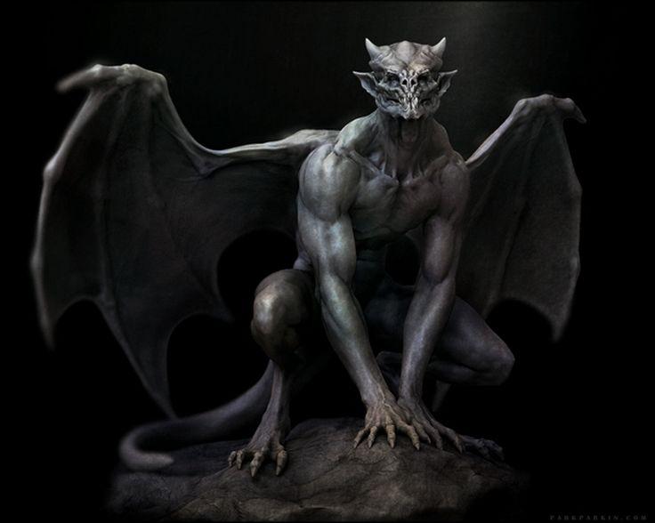 крылья летучей мыши, упырь, горгулья перед прыжком, химера, ночной ужас