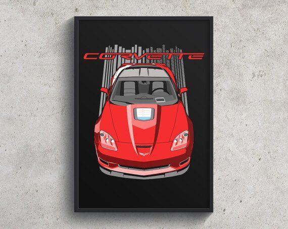 Chevrolet Corvette C6 Zr1 Poster Red Corvette Gift Corvette Zr1 Wall Art Car Art Wall Decor Chevy Chevrolet Corvette Corvette Car Art