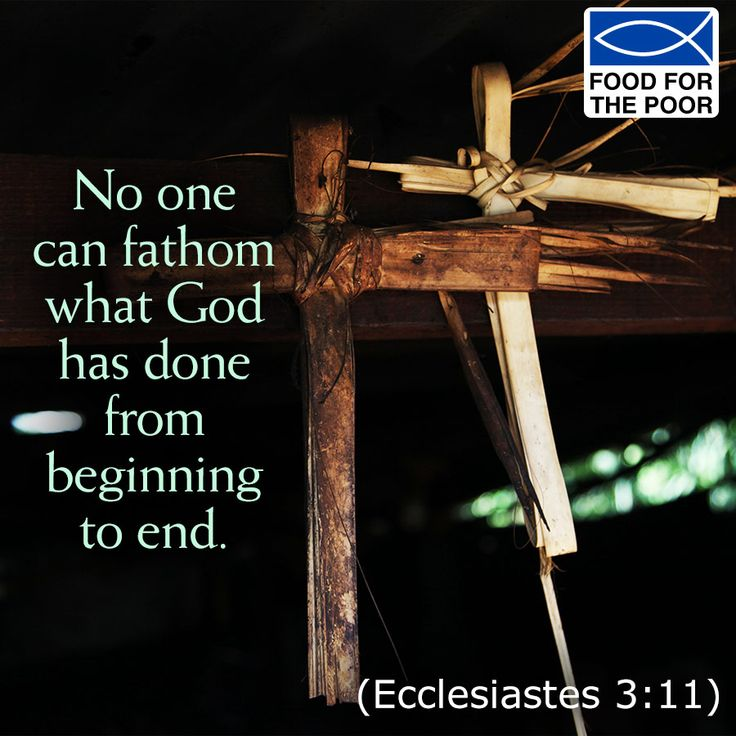 No one can fathom what God has done from beginning to end. (Ecclesiastes 3:11)  Receive inspiration delivered to your inbox Monday - Friday: http://www.foodforthepoor.org/verse #inspiration #verseoftheday #bibleverse #bible #prayer #prayeroftheday #foodforthepoor