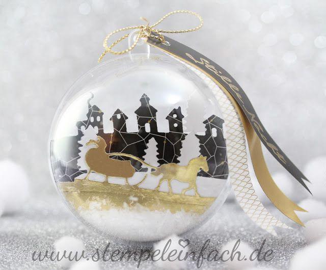 stempel einfach: Weihnachtskugel mit Stampin up, Weihnachten, Dekoration, Schlittenfahrt, Stille Nacht