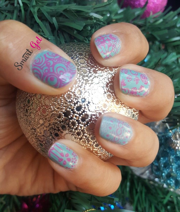 Pink & blue stamping nail art   #nails #nail #fashion #nailart #nailpolish #polish #nailswag #beauty #beautiful #pretty #girl #girls #stylish #sparkles #styles #glitter #art #photooftheday #rosa #love #style #shiny #cute #flowers #manicure #stampingnailart #smartgel #blue #pink