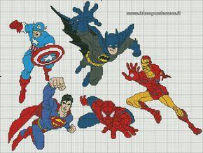 ♥ Mon point Graphiques Cruz ♥: Cadre de super-héros Avengers en point de croix