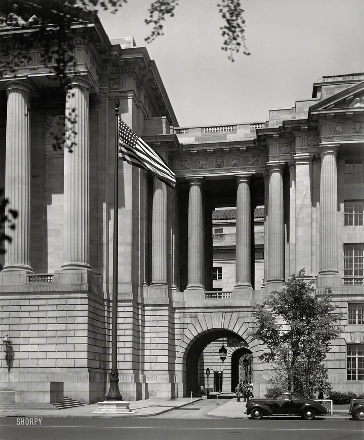 "Washington, D.C., circa 1937. ""U.S. Labor Department and Interstate Commerce Commission Building. Passageway between ICC and Departmental Auditorium sections."" 8x10 acetate negative by Theodor Horydczak. 