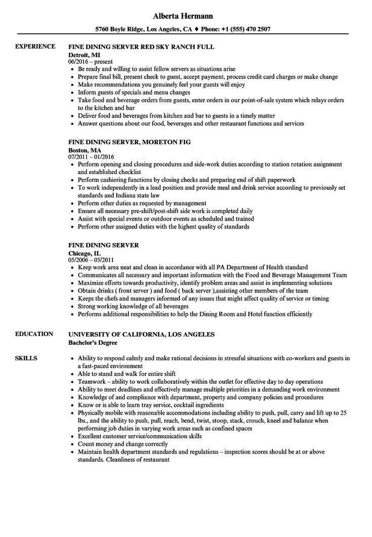 Resume Examples Server Resume Templates in 2020