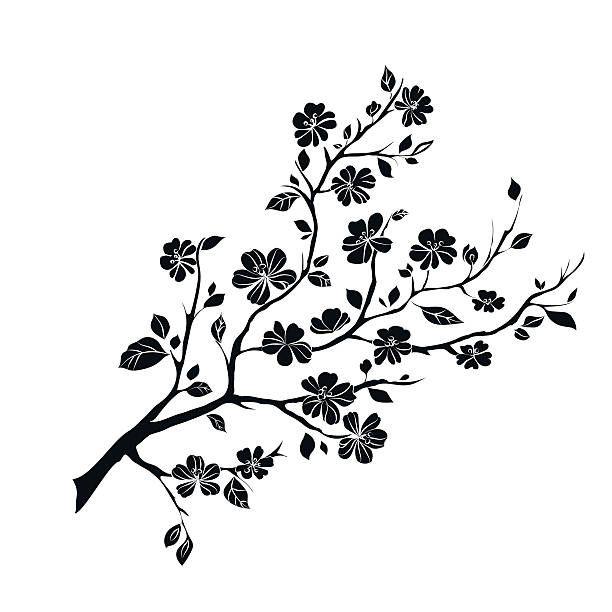 Twig Sakura Blossoms Vector Illustration Black Silhouette In 2021 Cherry Blossom Vector Vector Illustration Vector Art Illustration