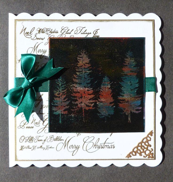 Winter Woodland. Card,   Imagination Craft's - Christmas Text & Fir Trees Art stamps.  Magi-bond glue.  Versamark pad.  Gold & Black embossing powders.   Tattered Lace corner die.   September 2016.   Designed by Jen