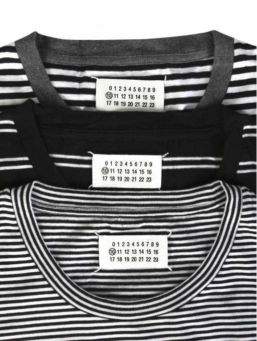 Maison Margiela Stereotype Pack Crew Neck Cotton T-Shirt White/Double/Black