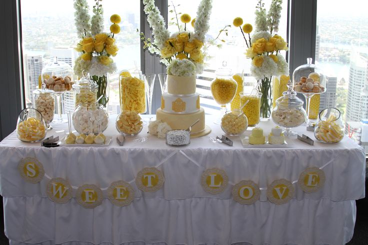 yellow and white lolly table buffet