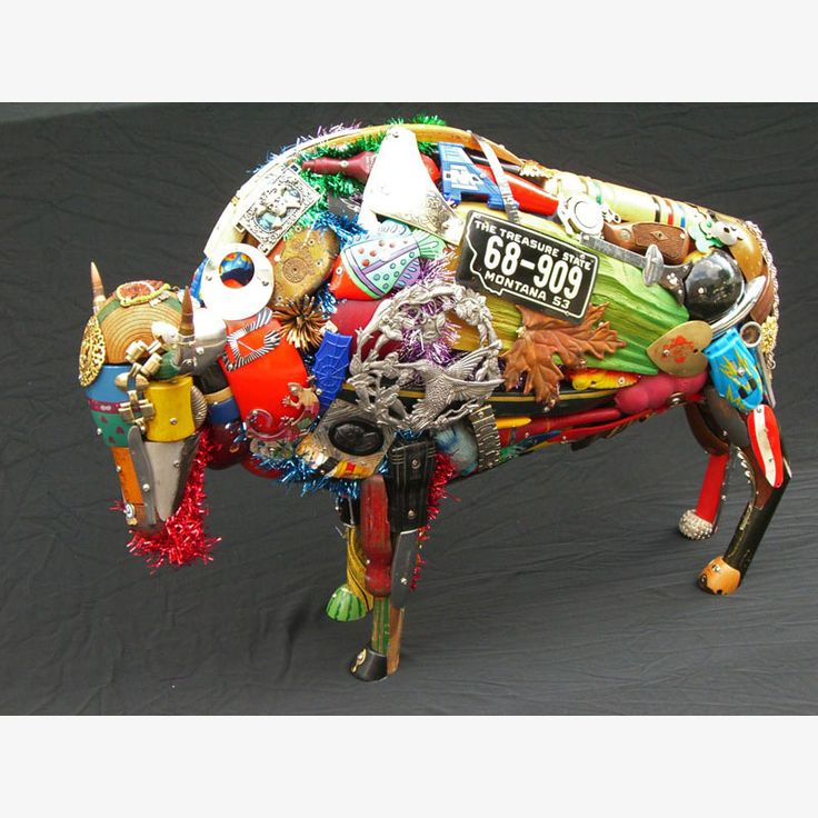 Bison sculpture upcycled from reclaimed materials by Leo Sewell