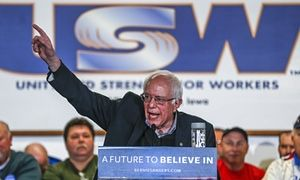 """Local union chapters disregard national leadership to endorse Bernie Sanders.  The United Steelworkers in Des Moines received the Sanders with enthusiasm, as unions on the national level largely support Hillary Clinton. """"I am going to caucus for Bernie. I can't remember in my lifetime a public servant who truly cares as much about the poor, the middle class, working men and women as Bernie Sanders,"""" says Steve Vonk, local president of the United Steelworkers in Des Moines, Iowa. #NotMeUs"""