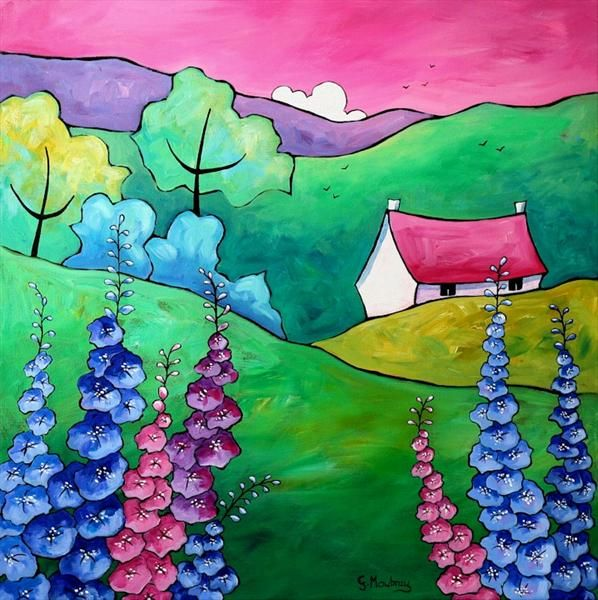 Larkspur Cottage (On Display At Art Gallery, Tetbury) by Gillian Mowbray