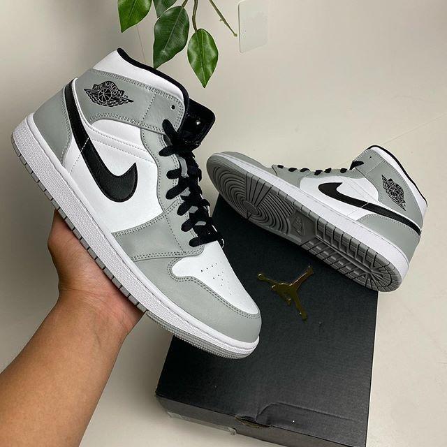 Nike Air Jordan 1 Mid Light Smoke Grey Shoes Women Jordans Men ...