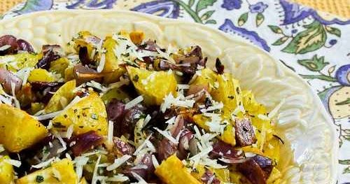 Savory Roasted White Sweet Potatoes Recipe with Red Onions, Rosemary, and Parmesan