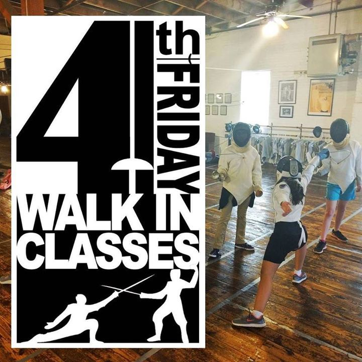 This Friday is Fourth Friday! Ever wanted to try out fencing? Maybe just one time? Not sure if you want to do a whole month? Try the WALK-IN FENCING CLASS PROGRAM! Anybody (ages 7) can sign up for one of the classes this Friday. Pre-registration is not required! All equipment is provided. Bring your friends! Bring your spouse! Bring your girlfriend/boyfriend! Everyone played swords when they were kids! Whether you pretended you were a Robin Hood Luke Skywalker or Jack Sparrow! Learn how to…