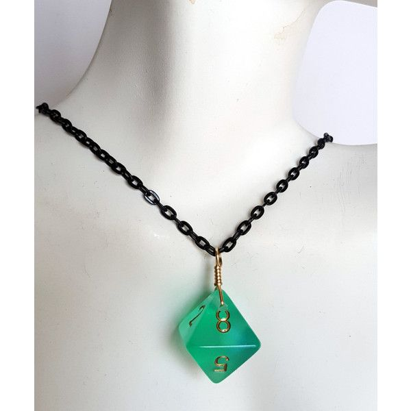 Dice Pendant Necklace Light Green Sparkle D8 Eight Sided Dice Jewelry... ($10) ❤ liked on Polyvore featuring jewelry, pendants, sparkling jewellery, pendant necklaces, chain pendants, chain pendant necklace and pendant jewelry