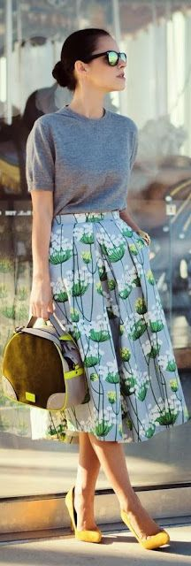 Street style | Grey t-shirt, floral printed midi skirt, yellow heels, handbag. women fashion outfit clothing style apparel @roressclothes closet ideas