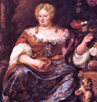 35- Charlotte-Elisabeth de Bavière - Princesse Palatine, artiste inconnu, probablement XVIII°s, localisation inconnue - § E. CHARLOTTE DE BAVIERE:.... le roi lui-même, son caractère et ses moeurs, sa conduite à l'égard de son épouse, ses amours, sa mort. Puis vient l'évocation des favorites royales: Mademoiselle de Fontanges, Louise de la Vallière, Madame de Montespan, Madame de Maintenon, etc.