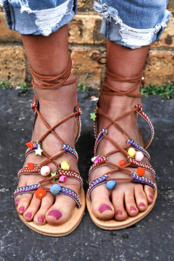 87874d7670738 Women Summer Beach Boho Sandals Girls Ankles Strapped Flat Low Heels Shoes