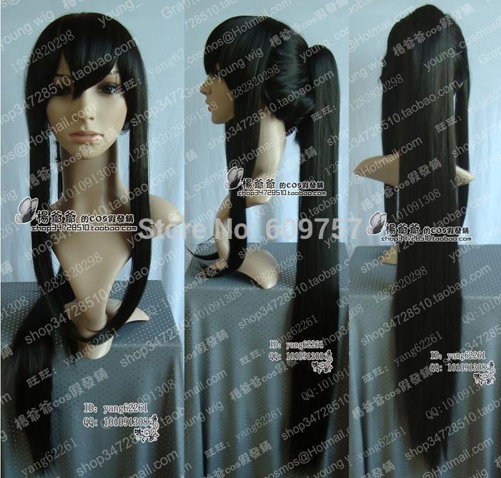 Серый человек косплей канда юу длинные черный парик + хвостики волосы Kanekalon волокна кружева перед парики бесплатные доставить