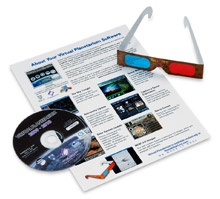 Our Virtual Planetarium Software, DVD version, comes with 3D glasses so you can look at the images from the Mars Rover. This software comes with our Deluxe and Ultimate Gift Sets.