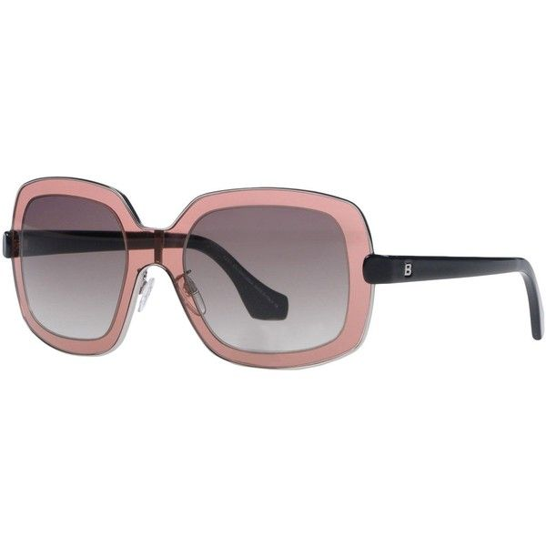 Balenciaga Sunglasses ($220) ❤ liked on Polyvore featuring accessories, eyewear, sunglasses, pastel pink, pink glasses, logo sunglasses, logo lens sunglasses, pink lens sunglasses and pastel glasses