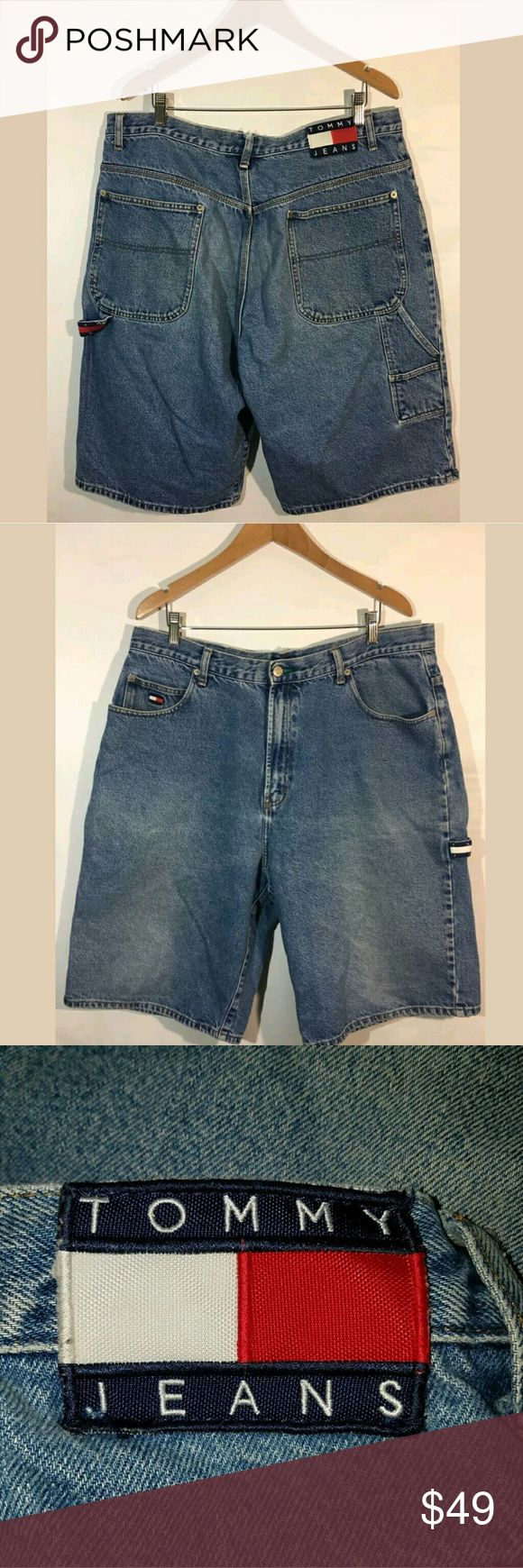 Tommy Hilfiger Shorts Men's Size 38 Denim Retro V Tommy Hilfiger Shorts Men's Size 38 Denim Retro Vintage Blue  Very good used condition. Fraying on one of the belt loops.   39 inch waist.  14.5 inch rise.  52 inch hips.  12.5 inch inseam.  26 inch outseam.   Pre-owned item condition. Item has little to no signs of wear unless specifically stated. Please carefully review item details and uploaded pictures for details of this item before offering or buying. Item is functional and ready for…