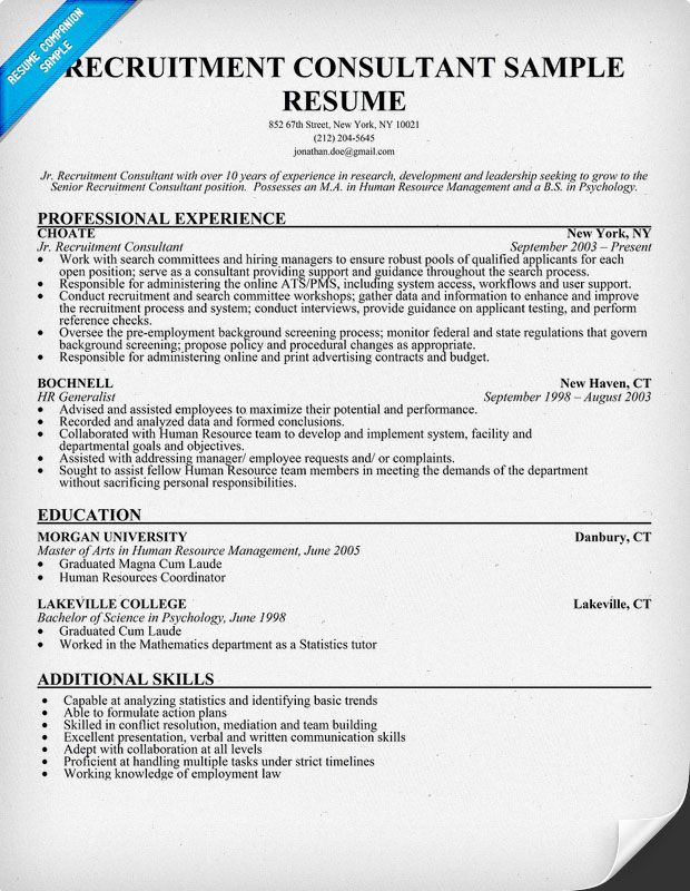 Recruitment Consultant Resume Sample (resumecompanion - hr generalist resume examples