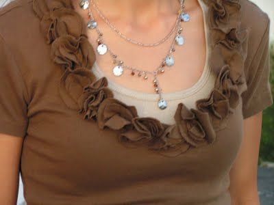 love the flowered neckline: Craft, Diy Shirt, Tshirts, Tea Roses, T Shirts, T Shirt Makeovers