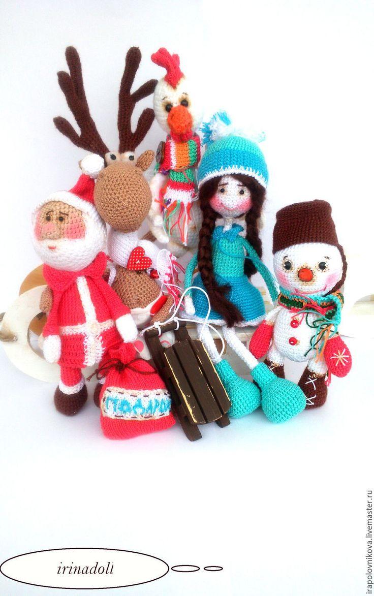 Купить Дед Мороз, амигуруми. - комбинированный, набор, белый, красный, символ 2017 года