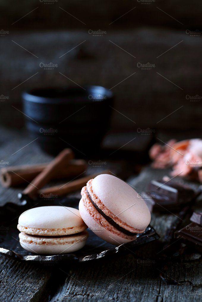 two chocolate macaroon by OksanaGoleva on @creativemarket