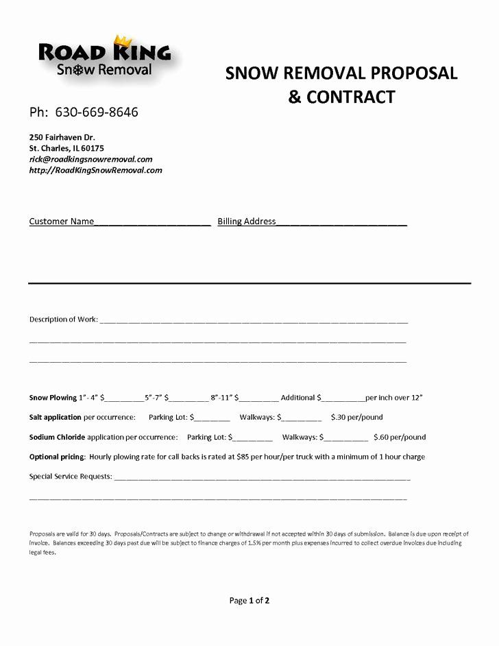 Simple Snow Plowing Contract Template Snow Removal Contract Contract Templates Snow Removal