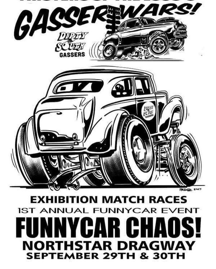 It's going to be epic and we can't wait. We'll be racing with @dirtysouthgassers on  September 30th at @northstardragway. Check out @funnycarchaos form more info. Full day of Funny Cars Beat the Heat World Finals and Dirty South Gassers Nostalgia Drag Racing. Big thanks to @cartoonsby_hrdez for the supercool artwork. Be there  ... ... #dirtysouthgassers #gasser #funnycarchaos #rebelrouserhotrods #denton #dentoning #northtexas #northstardragway #cartoonsby_hrdez #dragracing #anglia #gassser…