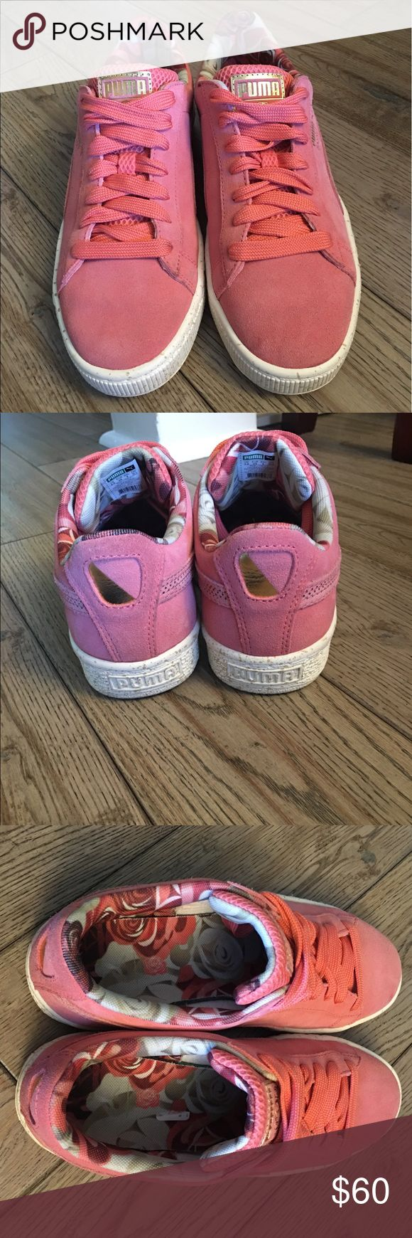 Pink suede Pumas Super cute pink suede puma sneakers in PERFECT condition. Worn maybe one time for an actual hour.. no scuffs! Cute floral interior and fun color for the summer! Speckled soles that go around the border of the shoe. Subtle gold detail throughout. Comes without box but in flawless condition. True to size Puma Shoes Sneakers