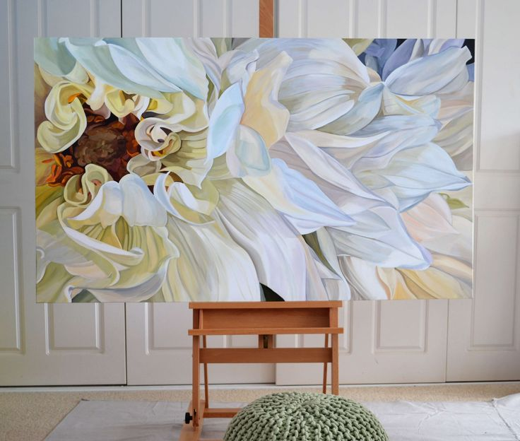 """""""Rhapsody II"""" - on easel. Size is 153 x 91cm. Artist acrylics on canvas with oil glaze. See website for details."""