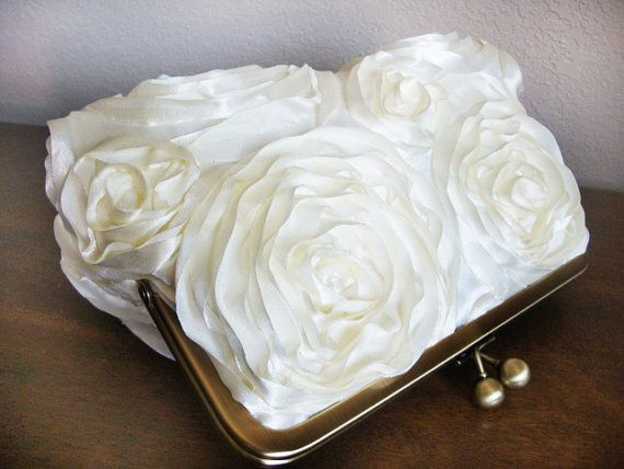 SALE Ribbon Rosette Purse Bag Wedding Clutch by by loliscreations, $46.00