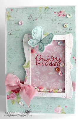 Enjoy This Day card by Karen Oliver - Paper Smooches - Butterflies, Fancy Frame