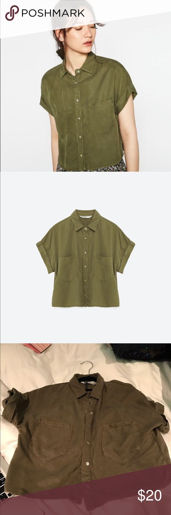 Zara Cropped Shirt 100% Lyocell Cropped shirt. Shirt is more fitted and shorter in length than appears on model (it fits fine however i noticed with me on it looks shorter and more feminine) offers Always welcome. No trades Zara Tops Crop Tops