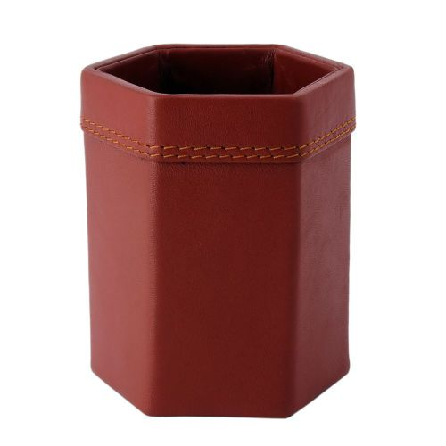 Genuine-Leather-Pen-Holder-Stand-Office-Desk-Organizer-Stationery-Cup-Brown