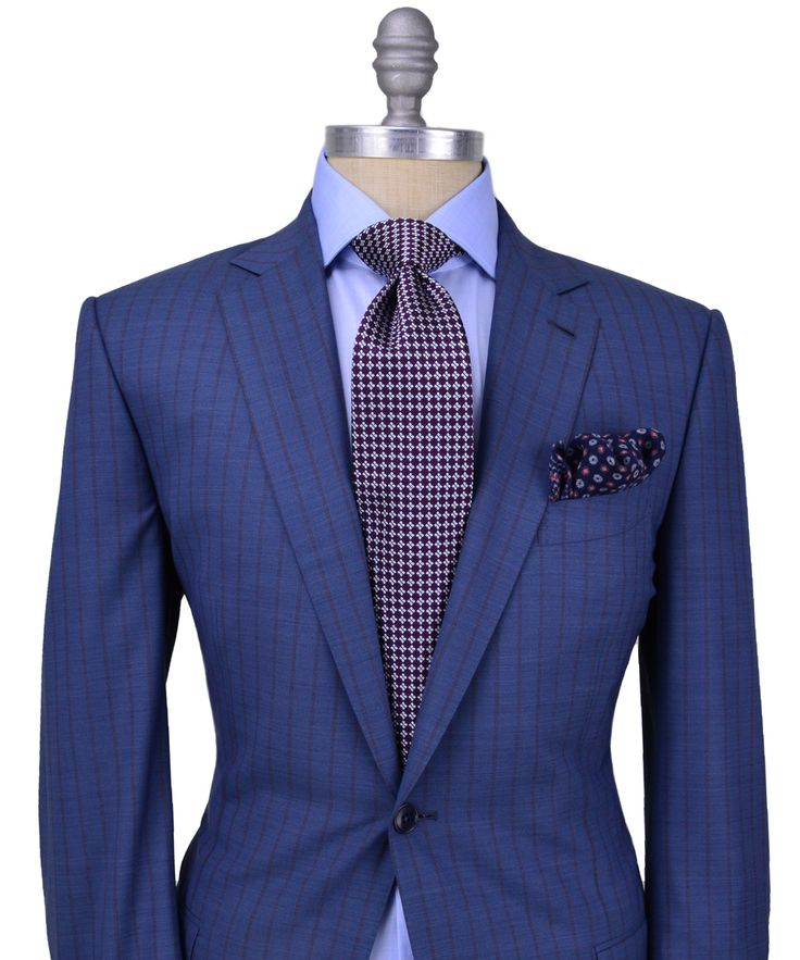 Stanley #Korshak | #Zegna Blue with Bordeaux Stripe #Suit