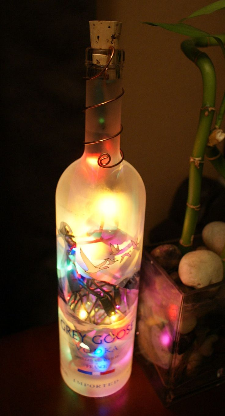 231 Best Wine Bottle Lights Images On Pinterest Glass