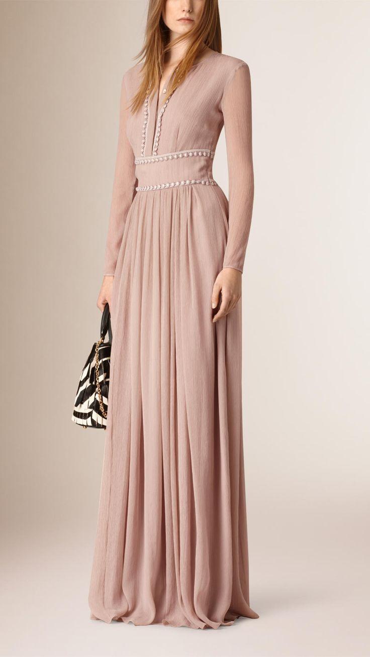 Floor-Length Lace Trim Silk Crepe Dress | Burberry