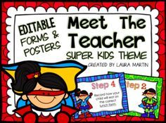 Meet the Teacher-Super Heroes Theme from PeaceLoveandFirstGrade on TeachersNotebook.com -  (53 pages)  - Meet the Teacher - Super Hero Theme Make Back to School easier with these EDITABLE Meet the Teacher Super Kids forms and posters.