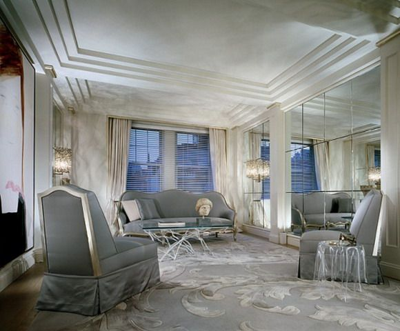 Geoffrey Bradfields Art Deco Inspired Living Room On Park Ave In Manhattan Mixed Ancient Artifacts And Modern