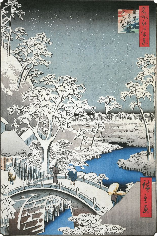Hiroshige, Meguro Drum Bridge and Sunset Hill, 1857
